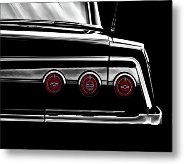 Vintage Impala Black And White Metal Print