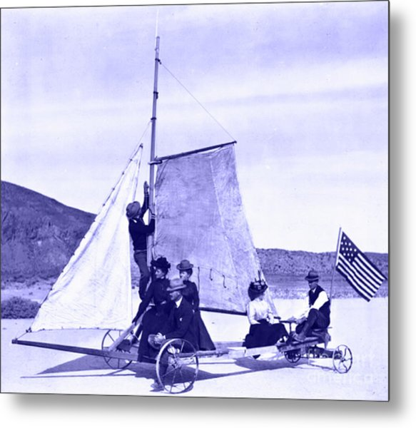 Vintage Ladies And Gentlemen Sail On The Desert Queen Metal Print