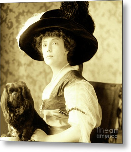 Vintage Lady With Lapdog Metal Print