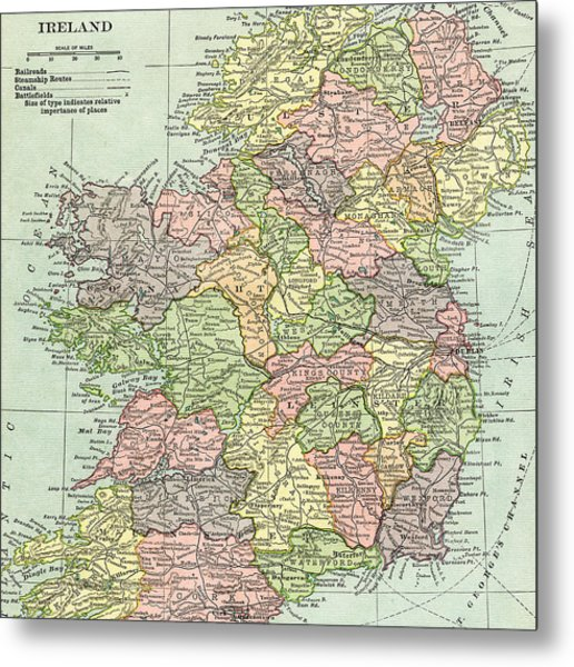 Vintage Map Ireland Metal Print