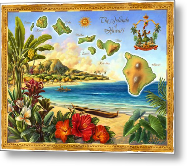Vintage Map Of Hawaii Metal Print by Anne Wertheim
