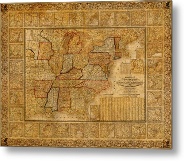 Vintage Map Of The United States Of America Usa Circa 1845 On Worn Distressed Parchment Metal Print