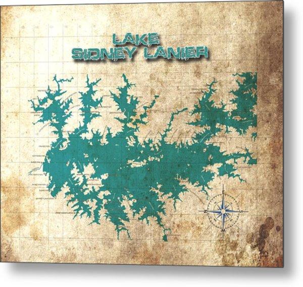 Vintage Map - Sidney Lanier Ga Metal Print