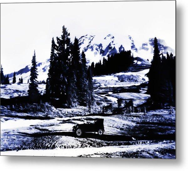 Vintage Mount Rainier With Antique Car Early 1900 Era... Metal Print