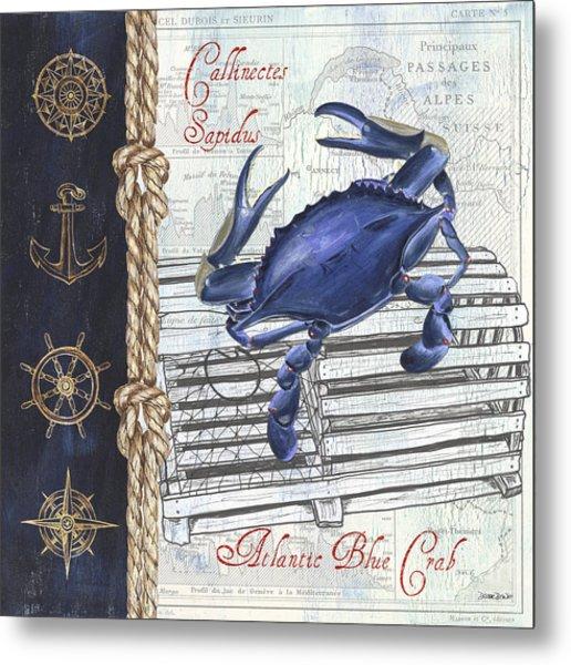 Vintage Nautical Crab Metal Print