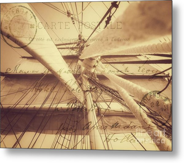 Vintage Nautical Sailing Typography In Sepia Metal Print