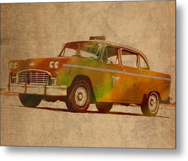 Vintage New York City Taxi Cab Watercolor Painting On Worn Canvas Metal Print