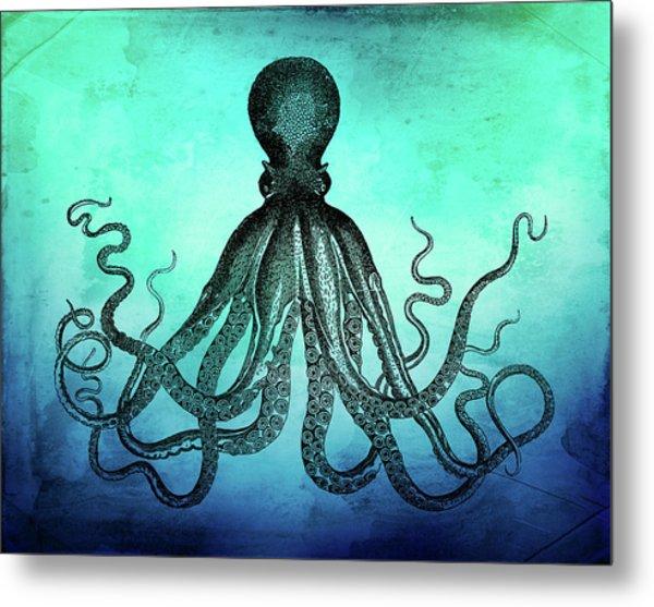Vintage Octopus On Blue Green Watercolor Metal Print
