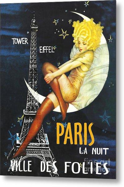 Vintage Paris Moon Metal Print