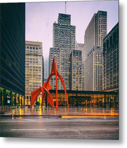 Vintage Photo Of Alexander Calder Flamingo Sculpture Federal Plaza Building - Chicago Illinois  Metal Print