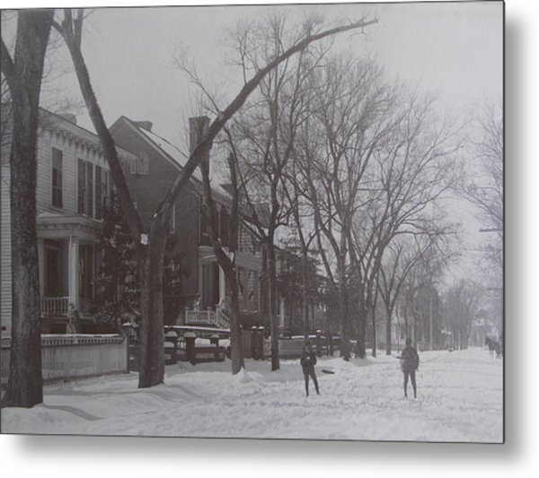 Vintage Photograph 1902 Snowball Fight New Bern Nc Metal Print