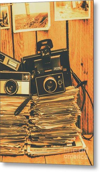 Vintage Photography Stack Metal Print