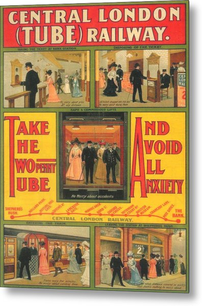 Vintage Poster - Central London Railway Metal Print