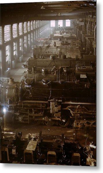 Vintage Railroad Locomotive Shop - 1942 Metal Print