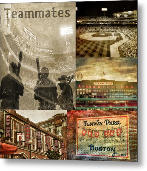 Vintage Red Sox Fenway Park Baseball Collage Metal Print