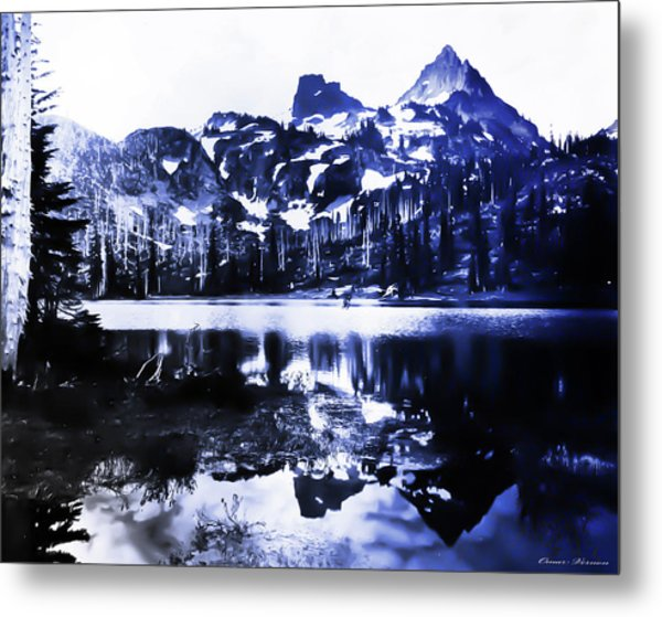 Vintage Reflection Lake  With Ripples Early 1900 Era... Metal Print