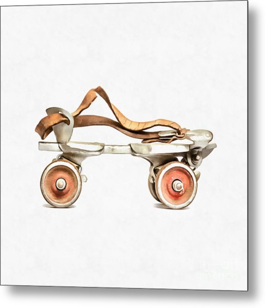Metal Print featuring the digital art Vintage Roller Skate Painting by Edward Fielding