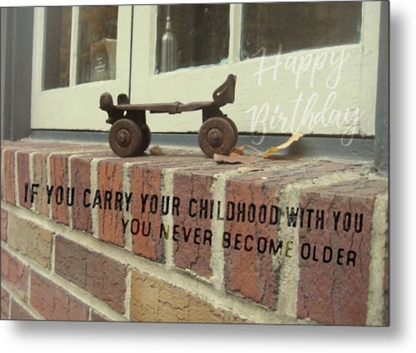 Vintage Roller Skate Quote Metal Print by JAMART Photography