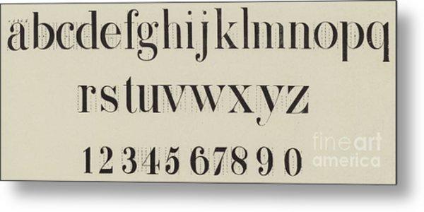 Vintage Roman Analytical Font Metal Print