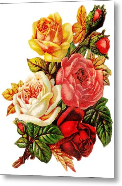 Metal Print featuring the digital art Vintage Rose I by Kim Kent