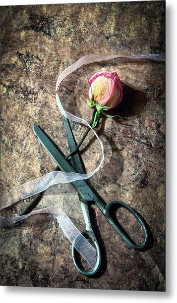 Vintage Scissors, Dried Pink Rose And Ribbon Metal Print