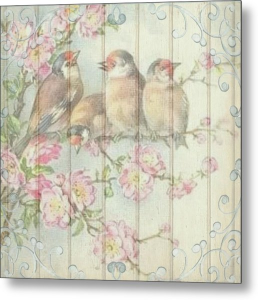 Vintage Shabby Chic Floral Faded Birds Design Metal Print
