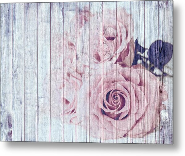 Vintage Shabby Chic Dusky Pink Roses On Blue Wood Effect Background Metal Print