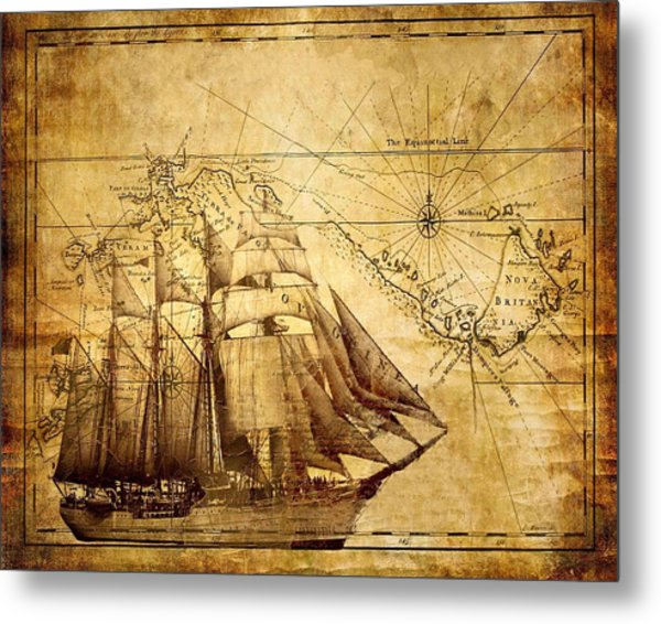 Vintage Ship Map Metal Print