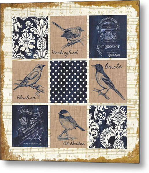 Vintage Songbird Patch 2 Metal Print