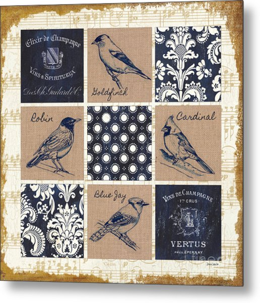 Vintage Songbirds Patch Metal Print