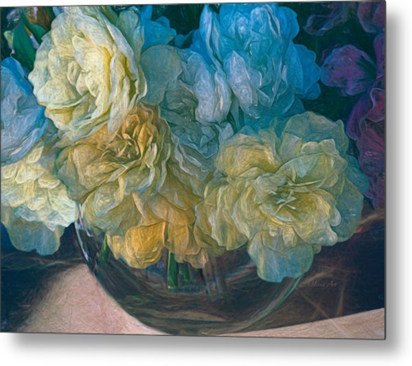 Vintage Still Life Bouquet Painting Metal Print