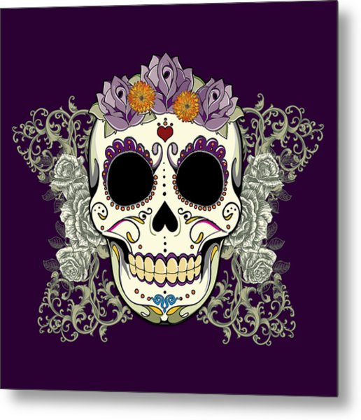 Vintage Sugar Skull And Flowers Metal Print