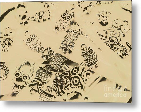 Vintage Toned Owls Metal Print