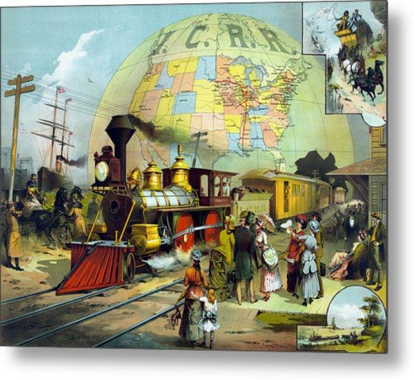 Vintage Transcontinental Railroad Metal Print