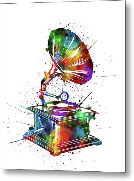 Vintage Turntable Watercolor Metal Print