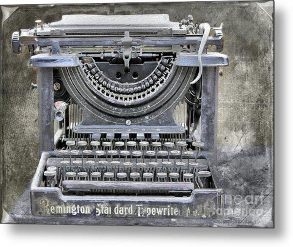 Vintage Typewriter Photo Paint Metal Print