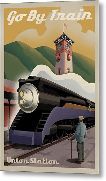 Vintage Union Station Train Poster Metal Print