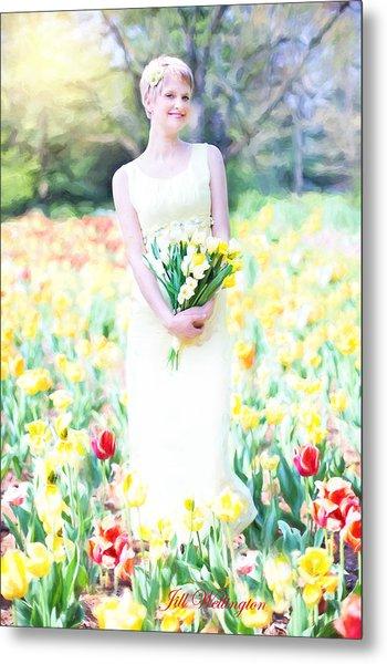 Vintage Val Spring Tulips Metal Print