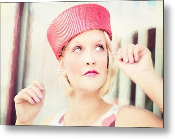 Vintage Val The Coral Hat Metal Print