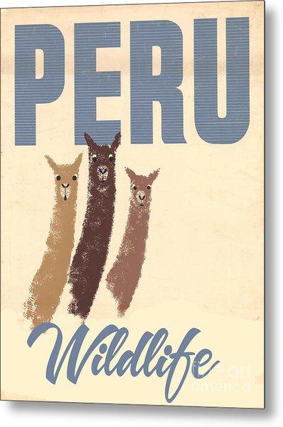 Vintage Wild Life Travel Llamas Metal Print