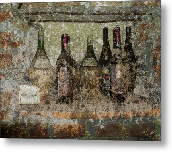 Vintage Wine Bottles - Tuscany  Metal Print by Jen White