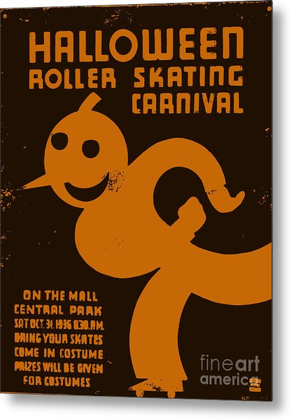 Vintage Wpa Halloween Roller Skating Carnival Poster Metal Print