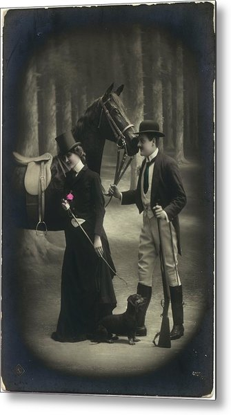 Vintage Young Woman And Man With Gun Metal Print by Gillham Studios