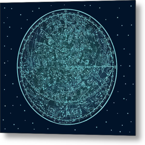 Vintage Zodiac Map - Teal Blue Metal Print