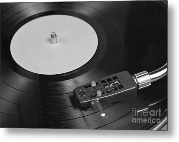Vinyl Record Playing On A Turntable Overview Metal Print
