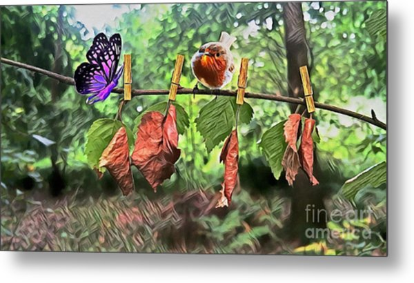 Violet And Robin Metal Print