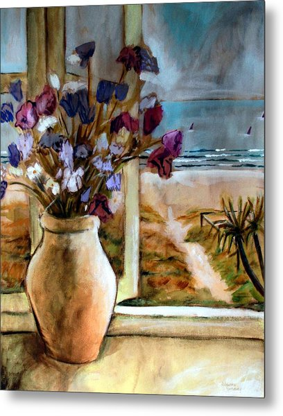 Violet Beach Flowers Metal Print