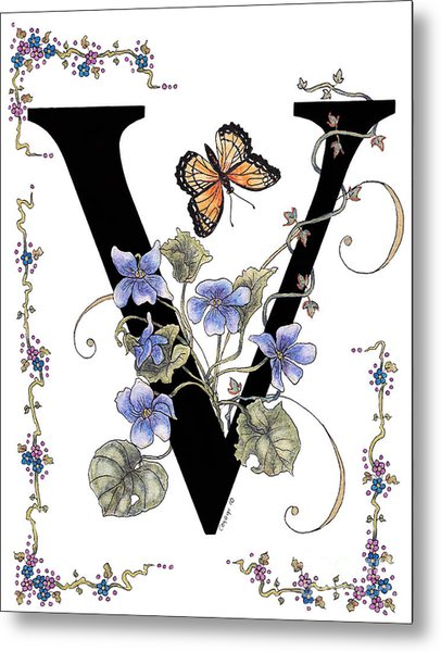Violets And A Viceroy Butterfly Metal Print