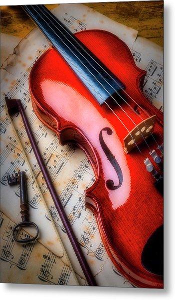 Violin And Old Key Metal Print