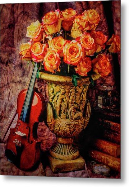 Violin And Roses Still Life Metal Print